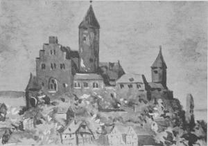 Eine Ansicht der Burg Mellnau in unzerstörtem Zustand ist nicht bekannt. DerPhantasie des Künstlers bleibt es vorbehalten, was war, in einem Rekonstruktionsversuch bildlich darzustellen. Ausschnitt aus einem Aquarell von H. Dauber.