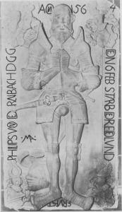 Die Vorfahren des Wetterschen Herrschaftlichen Stiftsvogts Philipp von Dernbach gehörten zu den Burgmannen auf Mellnau. Grabplatte in der Stiftskirche zu Wetter