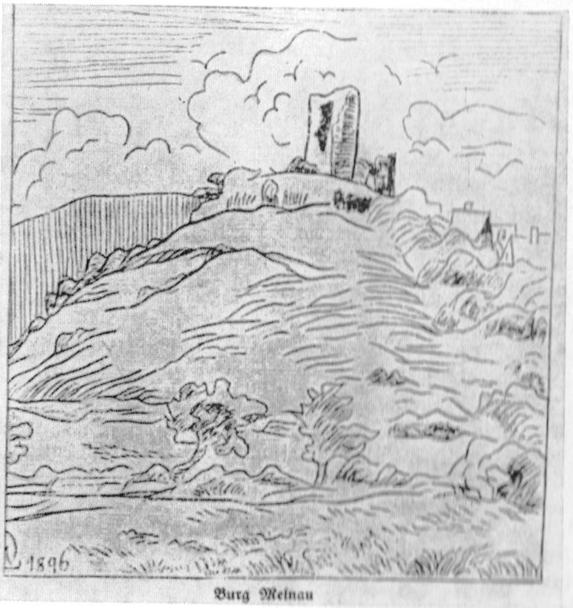 Die Burg Mellnau um 1896
